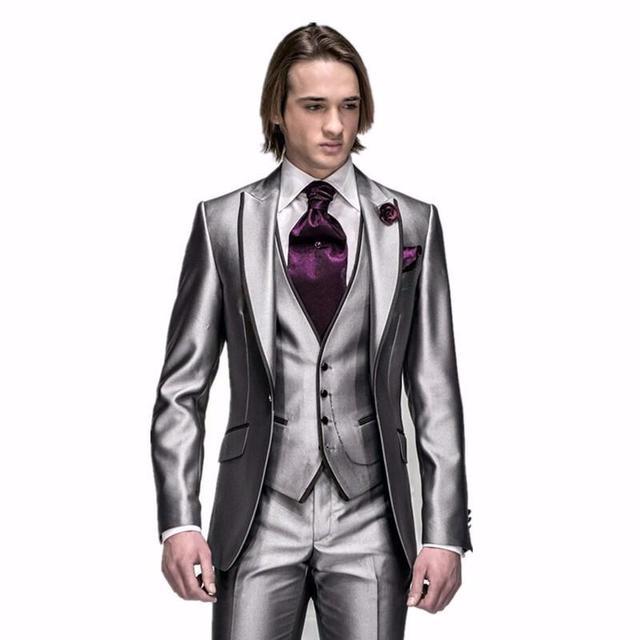 Custom Tuxedos Gentleman Style Shiny Grey Men\'s Suits Groomsmen ...