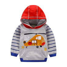 Little Maven Brand 2019 Long Sleeve Fall Spring Hooded Sweatshirt coat  baby kids Boys Tiger Printing airplane clothes clothing
