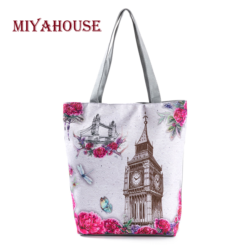 Candy Color Shoulder Bags Female Canvas Tote Handbags Tower Printing Beach Bag For Shopping Bag