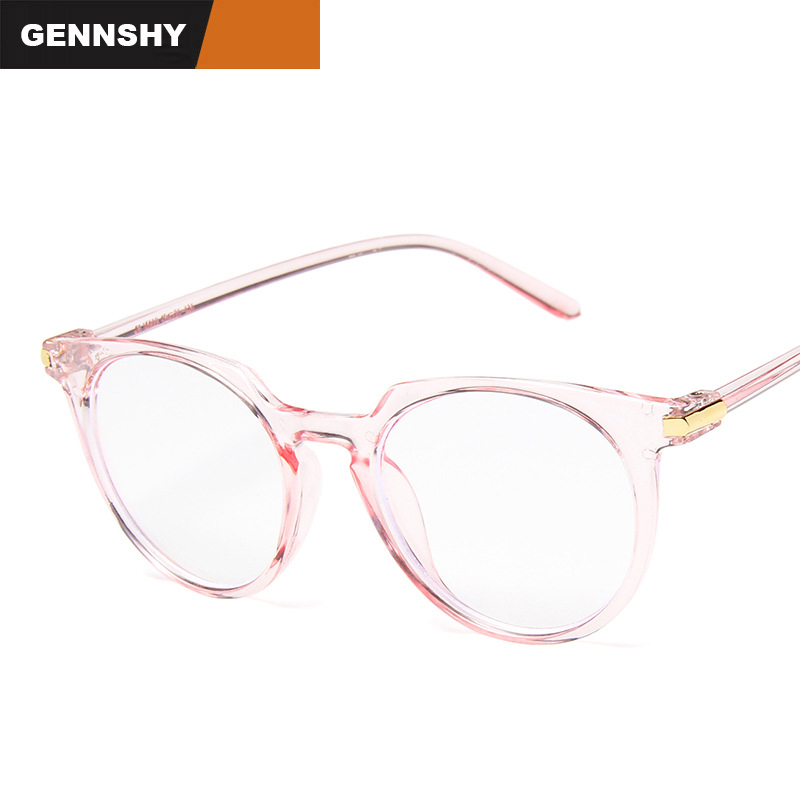 Vintage Fashion Trend Eyeglasses Frame Women Transparent Pink Plastic Glasses Frame Simple Artistic Student Eyewear Clear Lenses