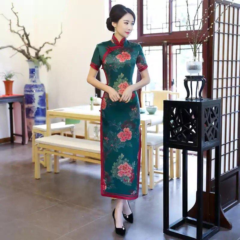 Élégant Long Slim chinois femmes traditionnel Satin Cheongsam Mandarin col Qipao été tenue décontractée Floral grande taille M-3XL