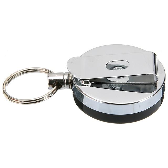 Porte-clés rétractable en métal de recul de chaîne de câble métallique en acier de haute résilience