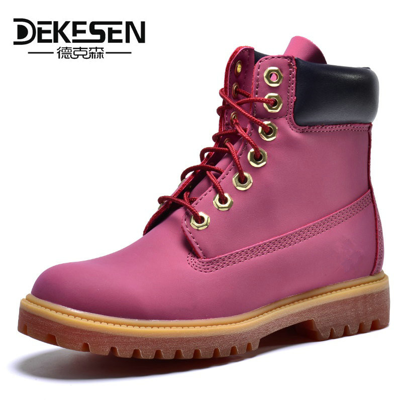 DEKESEN 2017 Spring Autumn Women martin boots Outdoor waterproof Lady Genuine leather boots Brand high quality snow shoes women red 2 pin spst miniature 2a 125vac 12mm hole no momentary push button switch