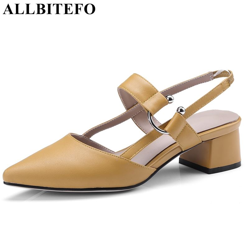 ALLBITEFO early spring genuine leather women sandals middle heel shoes pointed toe sandals girls fashion shoes