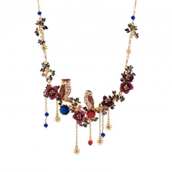 France Dyxytwe Purple Couple Owl Flowers Pendant Necklace For Women Enamel Fashion Jewelry Accessories Free shipping цена 2017