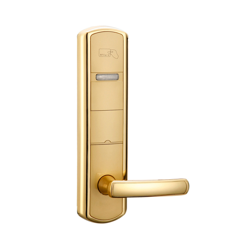 Electronic card hotel lock, electronic door lock,hotel door lock hotel security lock m1 rfid electronic card hotel lock for wooden door ss chrome color et6002rf