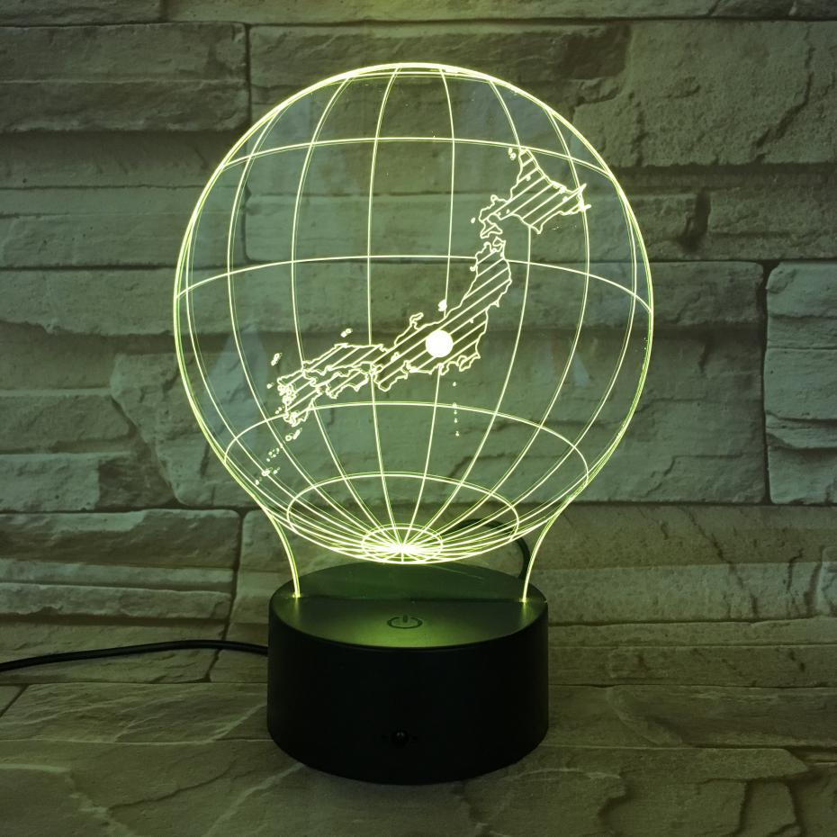 National map Japan Table Lamp desk 3D Illusion Touch Sensor 7 Color Changing Childrens Kids Baby Gifts Globe Night Light LED