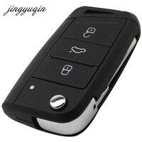 Jingyuqin Flip Folding Key Shell For VW Golf 7 Seat GTI MK7 Skoda Octavia A7 Remote