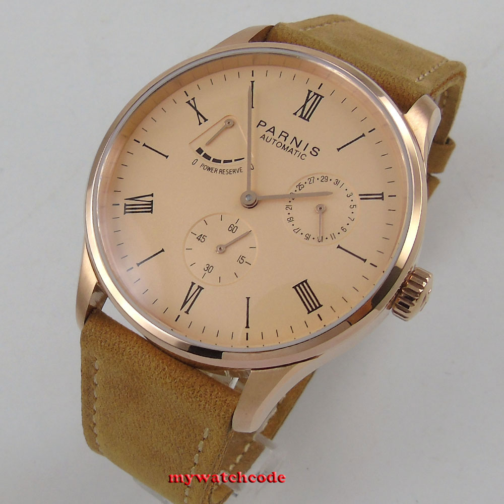 42mm parnis rose pink dial power reserve Sea-gull date automatic mens watch P944B цена и фото