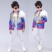 Штаны с блестками для детей и взрослых; куртка; одежда в стиле хип-хоп; костюмы для джазовых танцев; Карнавальный костюм для мальчиков; одежда для сцены; одежда для бальных танцев