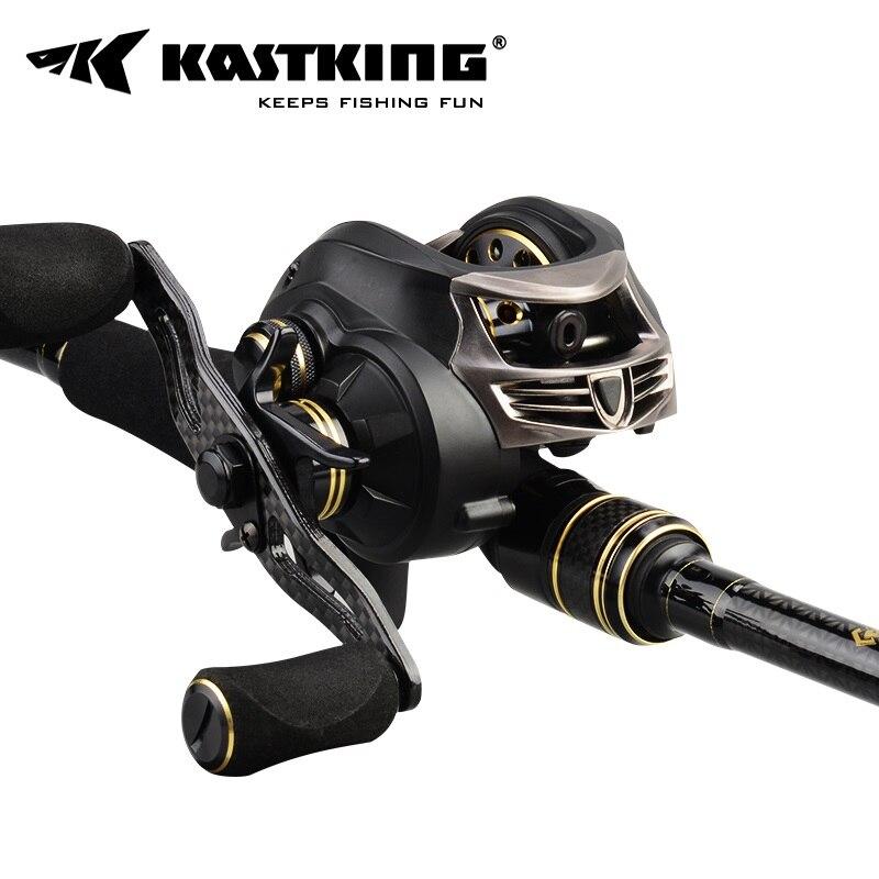 KastKing Stealth Baitcasting Fishing Reel + Carbon Casting Fishing Rod Combo