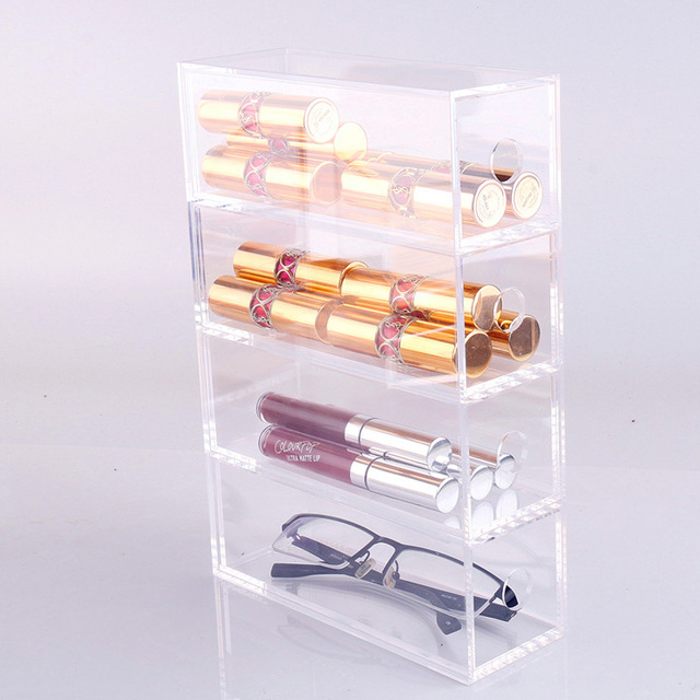 Mordoa Acrylic Transpa Gles Bo 4 Slot Drawer Make Up Box Lipstick And Nail Polish