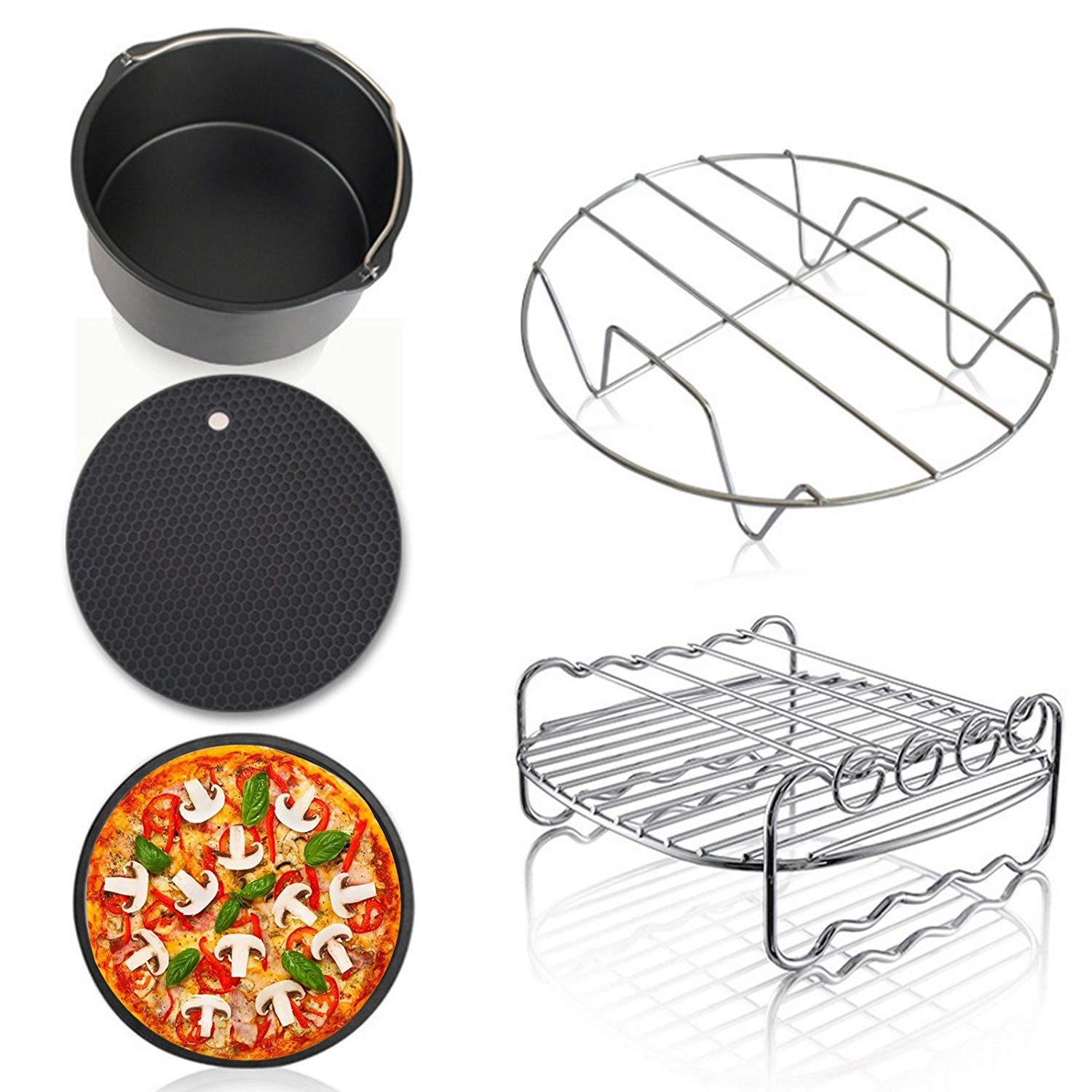 Air Fryer Accessories Deep Fryers Universal including Fryer basket,baking pizza pan,grill pan,pan support, pad by Hierkryst