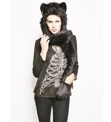 Женский/мужской зимний капюшон из искусственного меха, ушанки для животных, ручные карманы, 3в1, капюшон, шапка, волчий шарф с животными, перчатки, отправка в ближайшее время - Цвет: 6
