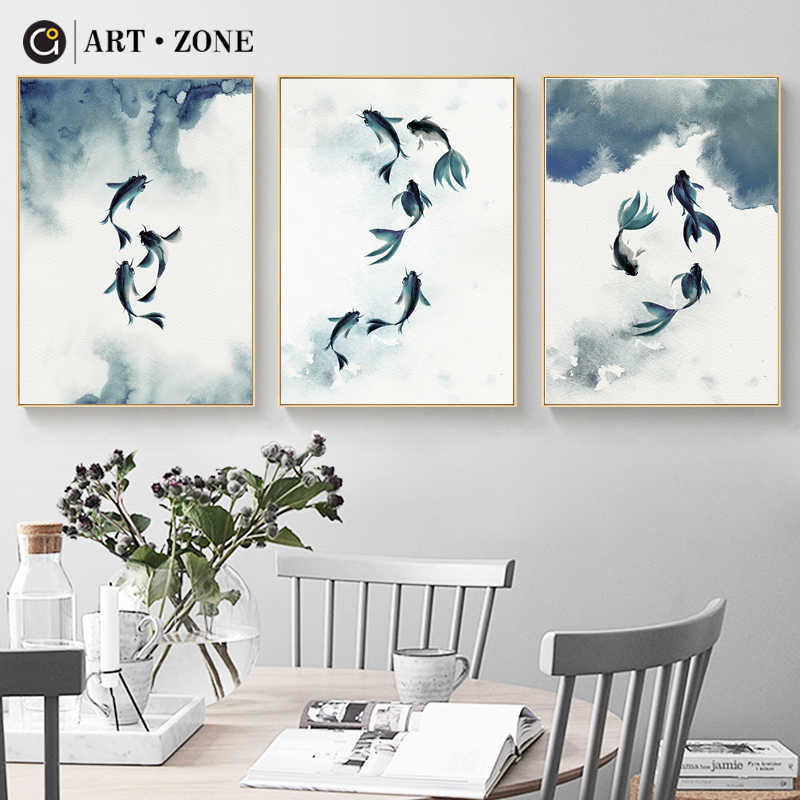 ART ZONE Fish Ink Painting Blue Watercolour Canvas Art Painting Wall Poster Study Room Living Room Home Decor Abstract Picture