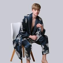 Двухкомпонентная шелковая ночная рубашка, атласная Мужская пижама, свободное платье с тигром, шелковистый халат с длинным рукавом и длинные штаны, банный халат для мужчин