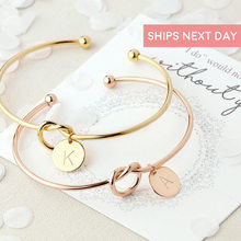 Rose Gold Silver Alloy Initial Letter Bracelet Snake Chain Charm Bracelets Bangles for Women Bracelets with Charms(China)
