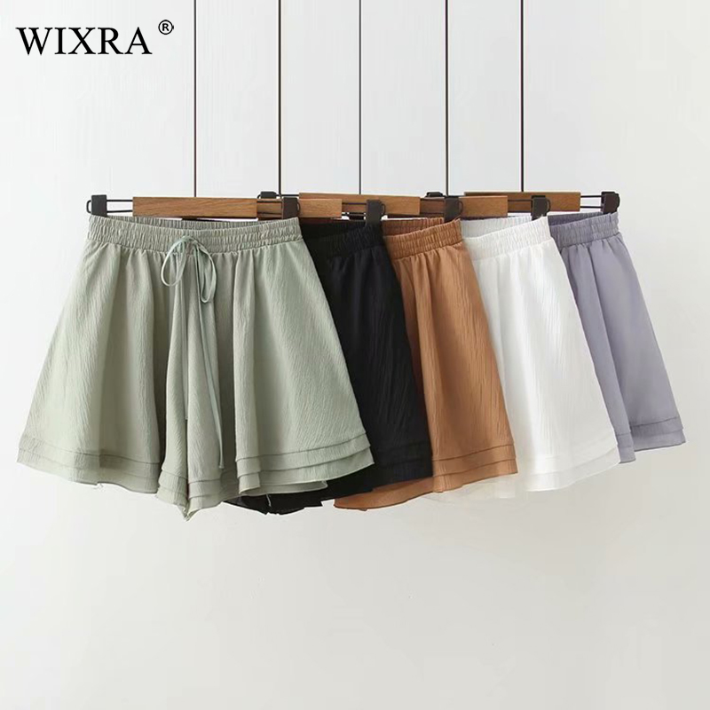 Wixra High Waist Loose Chiffon   Shorts   Spring Summer Women Lace up A Line Solid   Shorts   For Lady 2019 New Hot