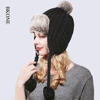 Mulheres Bombardeiro Chapéu de Lã de Malha de Inverno Tampas De Neve Faux Fox Pompons de peles Torcida Cap Abas de Orelha Russo Ushanka Trapper Aviator chapéu