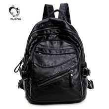 Kujing модный бренд рюкзак Высококачественная обувь черного цвета из искусственной кожи Для женщин рюкзак Горячие Большой Ёмкость студент мешок Для женщин для отдыха дешевые рюкзак