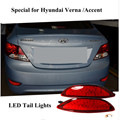 2016 New Arrivals 12V Red Lens ABS Rear Tail Braking Warning LED Bumper Reflector Light For Hyundai accent 2012/Hyundai Verna