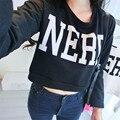 Fashion Women Hip-Hop Cropped Tops Letter NERD Print Hoodie Long Sleeve Sweatshirts
