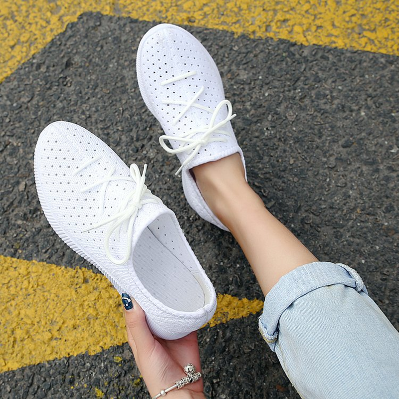 Fashion 2018 Women's Shoes Summer Flats Leisure Casual Slip-on Breathable Mesh Sneakers Platform Non-slip Soft Bottom