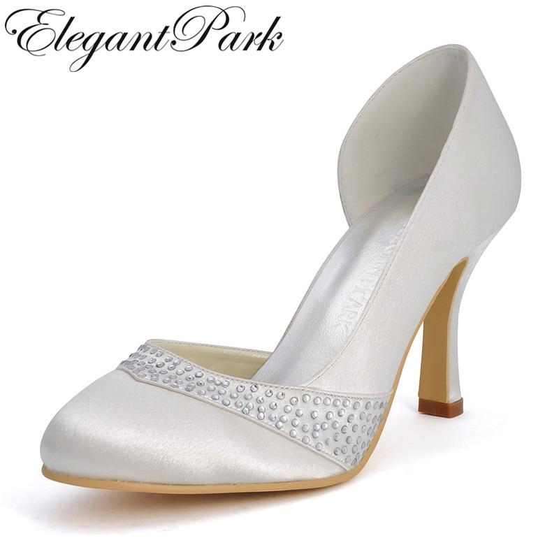Elgant woman shoes EP11020 Ivory Round Toe Rhinestone 3.5 high Heel Pumps Satin Wedding Bridal Evening Party Shoes