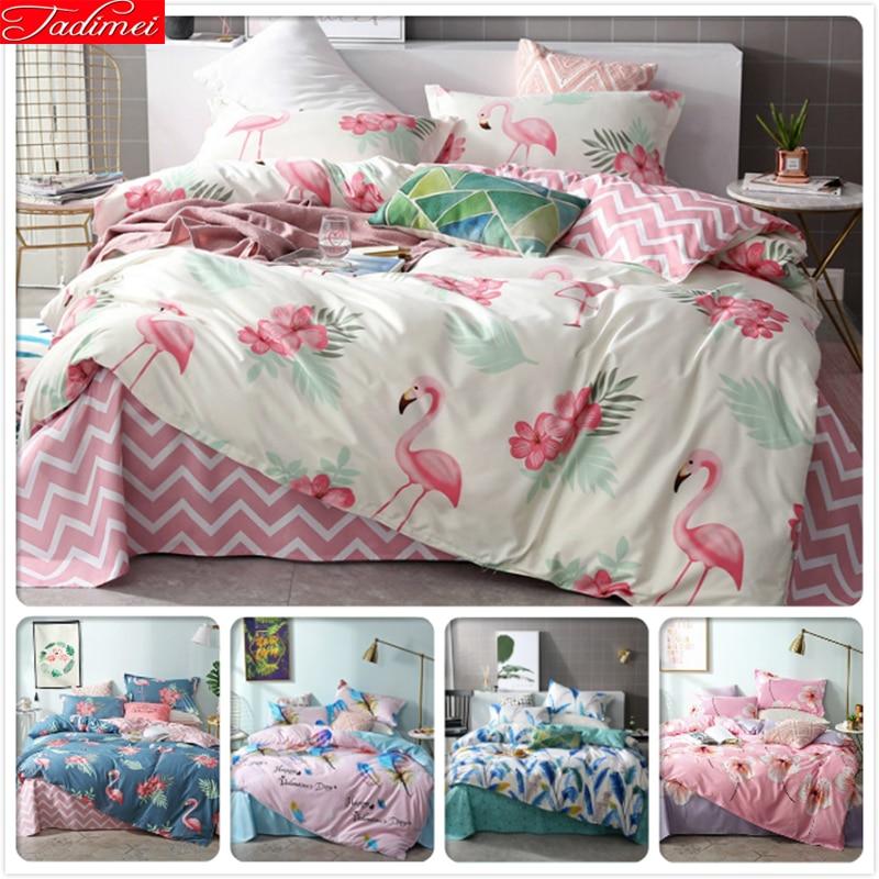 Flamant rose blanc housse de couette drap taie d'oreiller 3/4 pcs ensemble de literie adulte enfants enfant doux coton linge de lit housse de couette