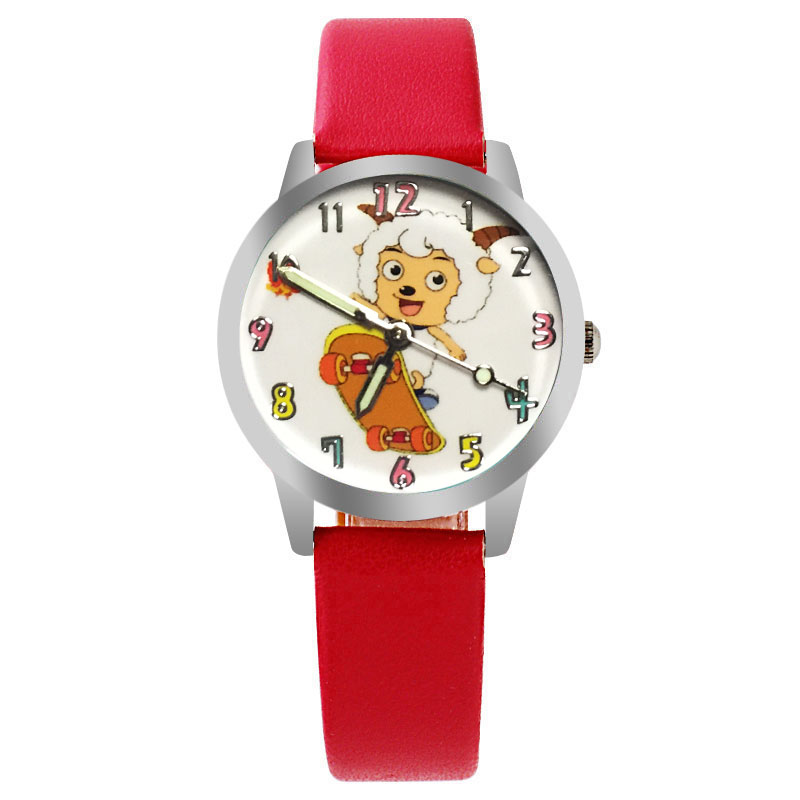 Kids Clock Boys Girls Students Watch Cute Cartoon Sheep Leather Children's Watch Casual Quartz Wristwatches Waterproof Relogio