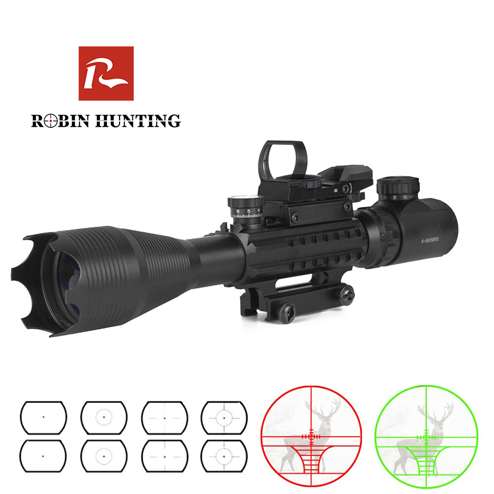Robin Hunting Tactical 4-16X50EG Rifle Scope Illuminated Red Dot Sight With Red Laser Combo Riflescope Optic Sight