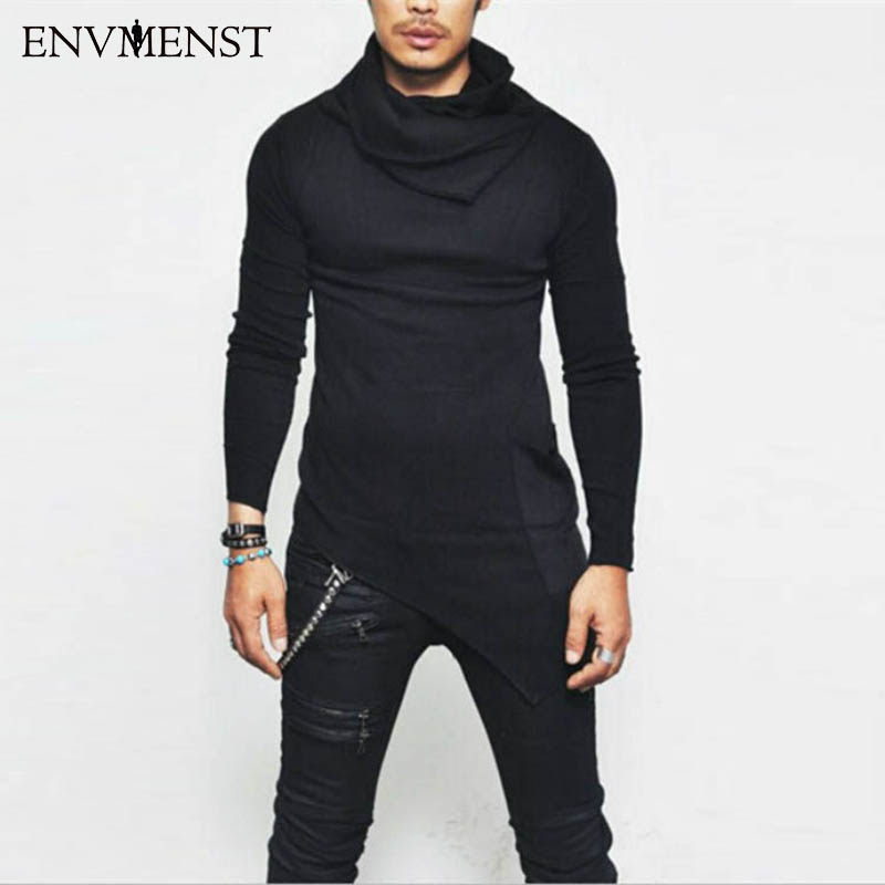 2017 Fashion Men Long Sleeve Turtle Neck Solid Plain T-shirt For Men Clothes Casual Shirts Asymmetry Hem Male T Shirt Tee Top