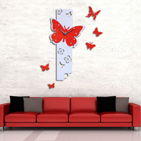 My House Butterfly Fly Pattern Large DIY Wall Clock 3D Mirror Surface Sticker Home Office Decor