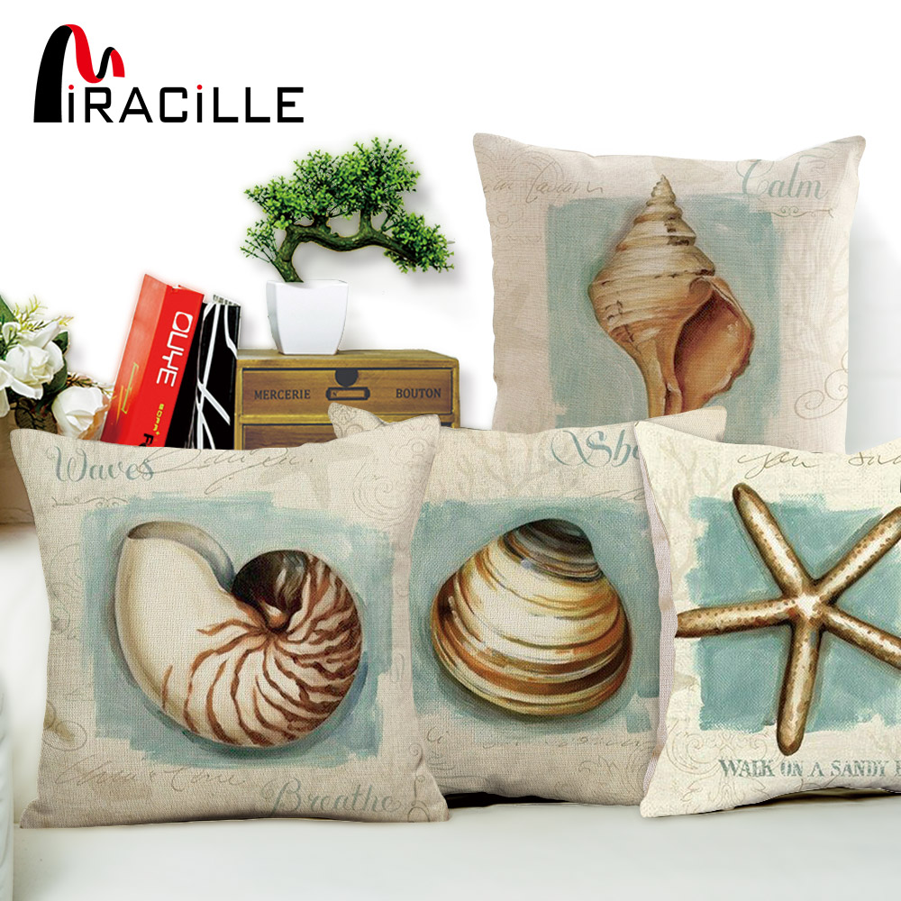 Miracille Vintage Ocean Style Home Decor Conch Starfish Shell Pattern Throw Pillow Case Square Cotton Linen Chair Cushion Cover