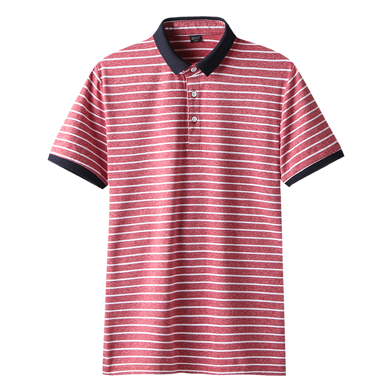 High Quality Polos Men Cotton 2019 Summer New Short Fashion Korean Style Striped Polo Shirts Male Quick Dry MuLS Brand Red Grey 1