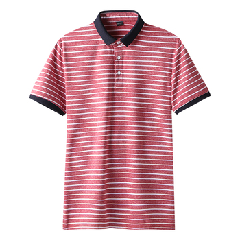 3c4ee93f8 High Quality Polos Men Cotton 2019 Summer New Short Fashion Korean Style  Striped Polo Shirts Male Quick Dry MuLS Brand Red Grey