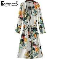 Everkaki Donne Stampa Floreale Kimono Cappotto Camicia Spaccatura Giapponese lunga Estate cinghia telai casual Camicetta Nuovo Modo 2017