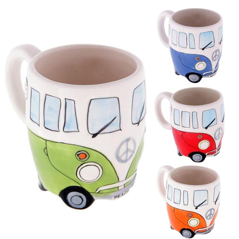 1 pezzo Del Fumetto Creativo di Autobus a due Tazze di Pittura A Mano Retro tazza di Ceramica Tazza Tazza di Caffè Latte Tazza di Tè Articoli e Attrezzature per Acqua, Caffè, Tè Novetly Regali