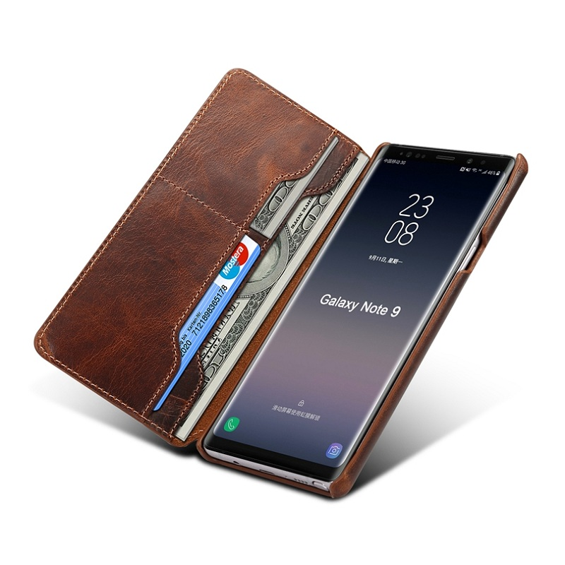 reputable site 28527 06e33 US $20.98 |Solque Real Genuine Leather Flip Case For Samsung Galaxy Note 9  Mobile Phone Luxury Vintage Card Slots Stand Wallet Cover Cases-in Flip ...