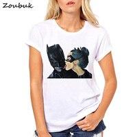 2018 летние топы аниме мультфильм Бэтмен и Женщина-кошка Футболка женская крутая футболка Женская футболка одежда хипстер поцелуй футболка