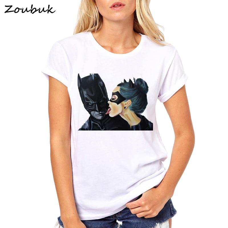 2018 Tops de verano de dibujos animados de Batman y Catwoman T camisa de las mujeres Tee camiseta femenina ropa hipster beso camiseta