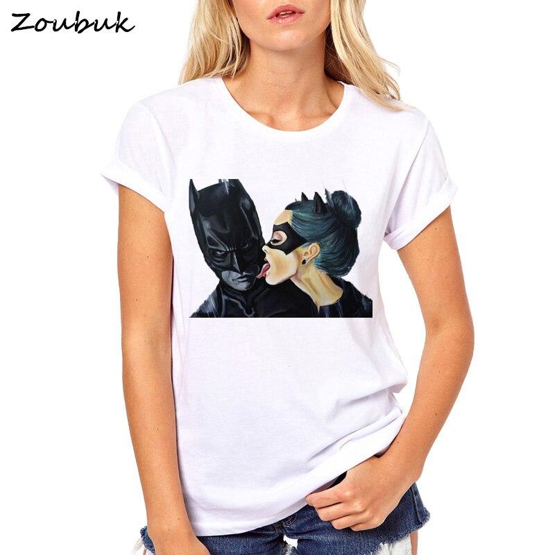 2018 Sommer Tops Anime Cartoon Batman Und Catwoman T Hemd Frauen Cool T Weibliche T-shirt Kleidung Hipster Kuss T-shirt Ein Bereicherung Und Ein NäHrstoff FüR Die Leber Und Die Niere Gepäck & Taschen