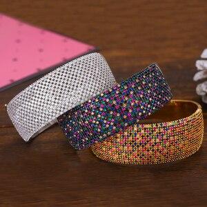 Image 1 - GODKI Breiten Großen Luxus Stapelbar Erklärung Armband Für Frauen Hochzeit Voller Cubic Zirkon Kristall CZ Dubai Armbänder 2019