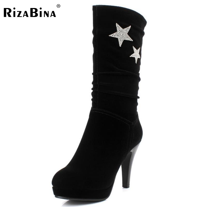 ФОТО women high heel half short boot mid calf warm winter snow glitter boots fashion office work footwear shoes P21859 size 34-40
