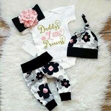 UK Newborn Baby Girls Floral White Tops Romper Black Long Pants Hat Outfits Clothes 4Pcs Set