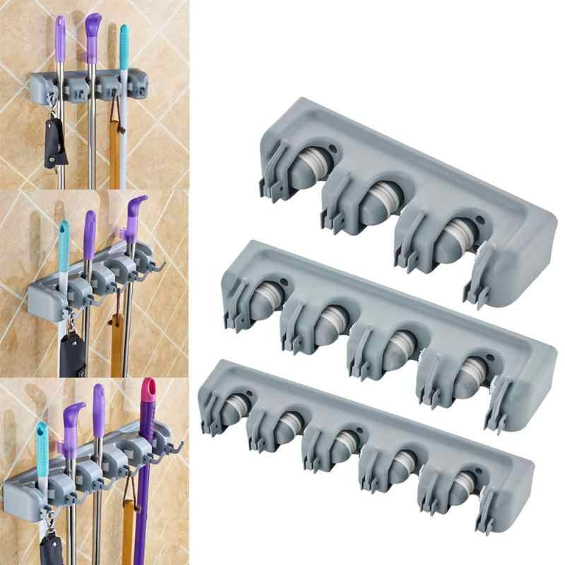 5/4/3 Position Mop Holder Kitchen Organizer Brush Broom Hanger Storage Rack Household Mop Brush Hanger Kitchen Gadgets
