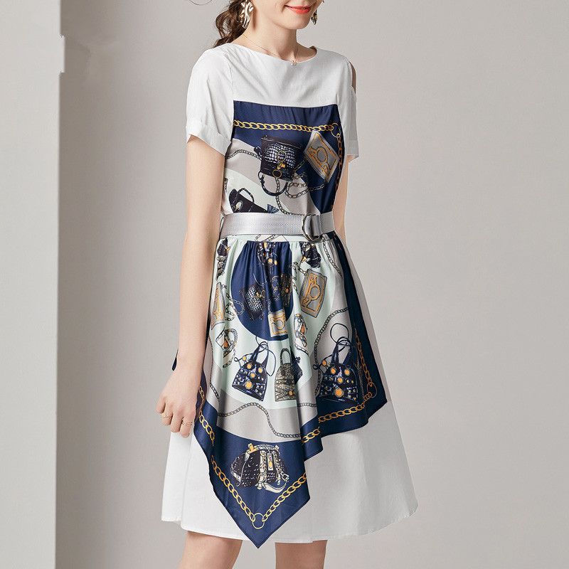 Fashion Summer Women Casual Dress High Street Print Belt Short Sleeve Loose Dress Sexy Off Shoulder Patchwork Hit Color Dress 3