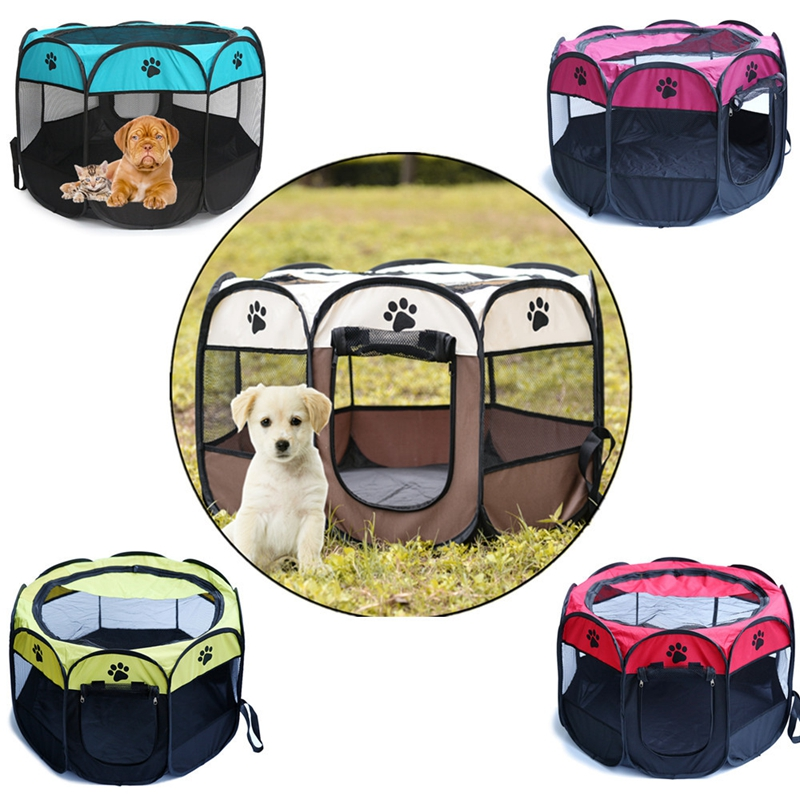 Pet Supplies Pet Dog Cat Portable Playpen Tent 8 Panel Puppy Cage Soft Crate Folding Exercise Kennel Play Game Houses Safe Fence