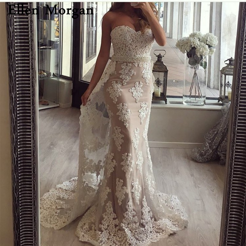 Detachable Skirt Mermaid   Evening     Dresses   2019 Sexy Sweetheart Contrast Color Lace Runway Fashion Long Formal Prom Party Gowns