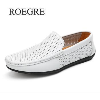 Lato w stylu mokasyny łodzi męskie buty wsuwane dla mężczyzn otwór oddychające lekkie miękkie prawdziwej skóry płaskie buty wsuwane obuwie 45 46 tanie i dobre opinie Dla dorosłych Przypadkowi buty RUBBER Buty łodzi Slip-on Loafers Boat shoes Stałe Pasuje prawda na wymiar weź swój normalny rozmiar